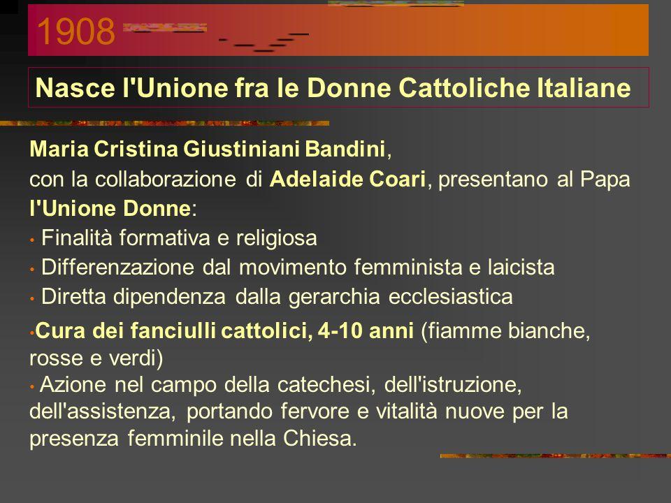 Ridefinizione dellAzione Cattolica Sciolta lOpera dei congressi, si ridefinisce lAC: Unione Popolare Cattolica Italiana Unione C.I. delle Associazioni