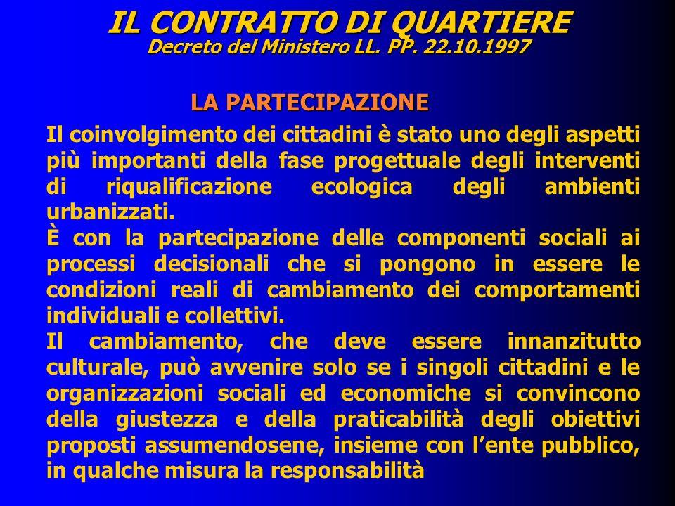 IL CONTRATTO DI QUARTIERE Decreto del Ministero LL. PP. 22.10.1997 LA PARTECIPAZIONE LA PARTECIPAZIONE Il coinvolgimento dei cittadini è stato uno deg