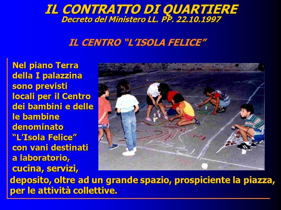 IL CONTRATTO DI QUARTIERE Decreto del Ministero LL. PP. 22.10.1997 deposito, oltre ad un grande spazio, prospiciente la piazza, per le attività collet