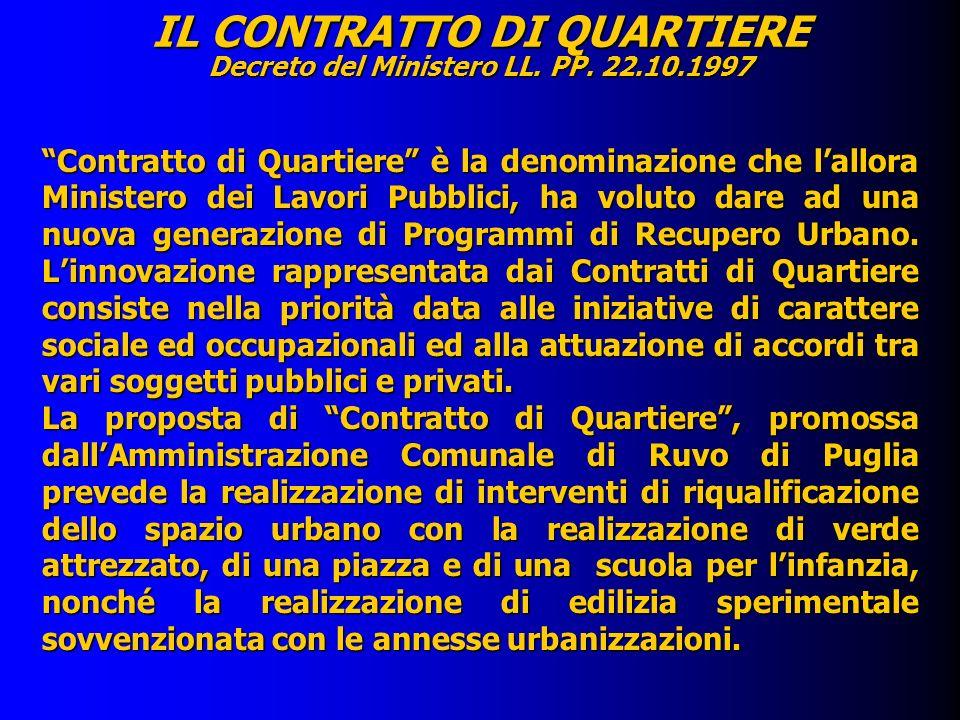 IL CONTRATTO DI QUARTIERE Decreto del Ministero LL. PP. 22.10.1997 Contratto di Quartiere è la denominazione che lallora Ministero dei Lavori Pubblici