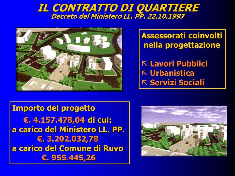 IL CONTRATTO DI QUARTIERE Decreto del Ministero LL. PP. 22.10.1997 Importo del progetto. 4.157.478,04 di cui:. 4.157.478,04 di cui: a carico del Minis