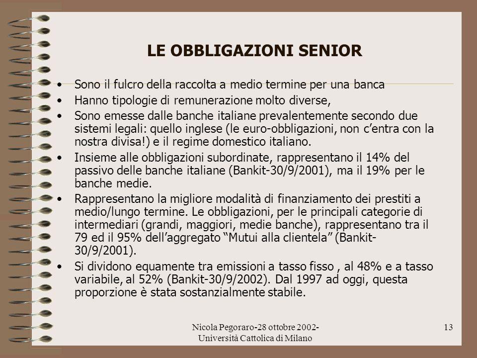 Nicola Pegoraro-28 ottobre 2002- Università Cattolica di Milano 13 LE OBBLIGAZIONI SENIOR Sono il fulcro della raccolta a medio termine per una banca