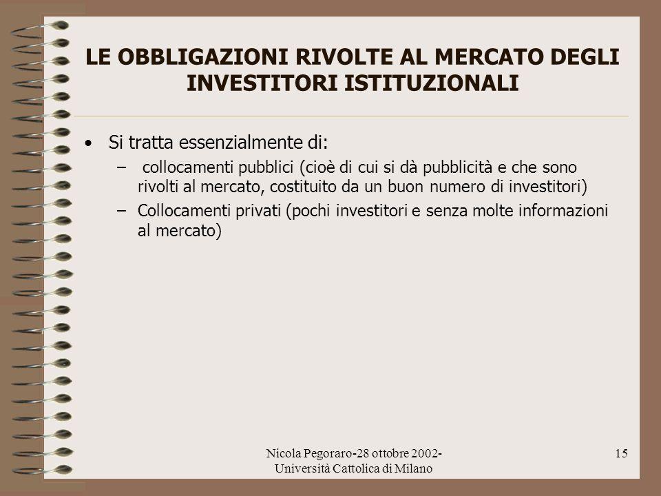 Nicola Pegoraro-28 ottobre 2002- Università Cattolica di Milano 15 LE OBBLIGAZIONI RIVOLTE AL MERCATO DEGLI INVESTITORI ISTITUZIONALI Si tratta essenz