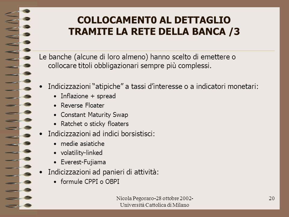 Nicola Pegoraro-28 ottobre 2002- Università Cattolica di Milano 20 COLLOCAMENT0 AL DETTAGLIO TRAMITE LA RETE DELLA BANCA /3 Le banche (alcune di loro