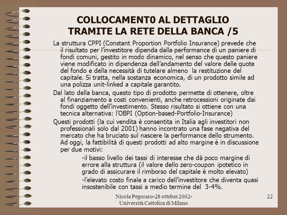 Nicola Pegoraro-28 ottobre 2002- Università Cattolica di Milano 22 COLLOCAMENT0 AL DETTAGLIO TRAMITE LA RETE DELLA BANCA /5 La struttura CPPI (Constan