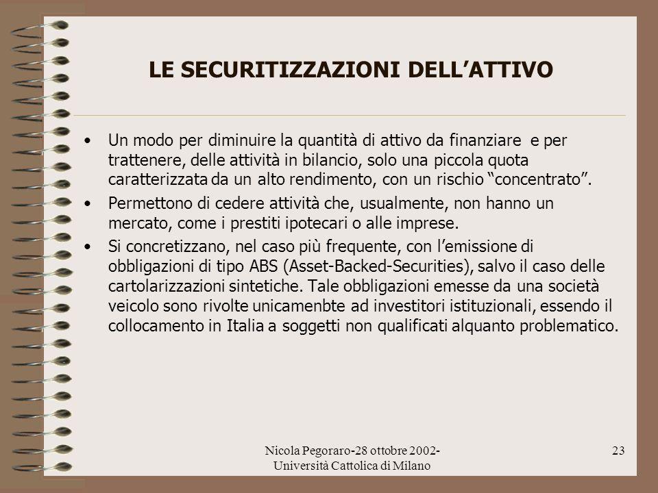 Nicola Pegoraro-28 ottobre 2002- Università Cattolica di Milano 23 LE SECURITIZZAZIONI DELLATTIVO Un modo per diminuire la quantità di attivo da finan