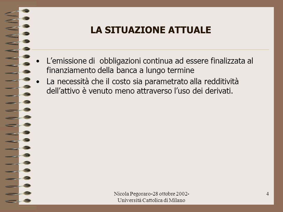 Nicola Pegoraro-28 ottobre 2002- Università Cattolica di Milano 4 LA SITUAZIONE ATTUALE Lemissione di obbligazioni continua ad essere finalizzata al f