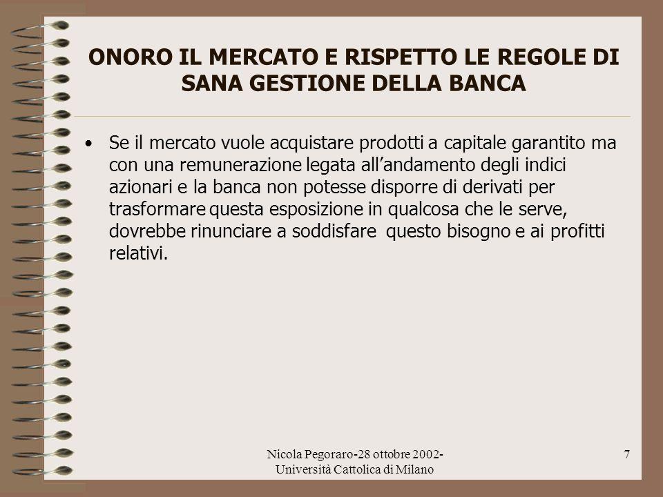 Nicola Pegoraro-28 ottobre 2002- Università Cattolica di Milano 7 ONORO IL MERCATO E RISPETTO LE REGOLE DI SANA GESTIONE DELLA BANCA Se il mercato vuo