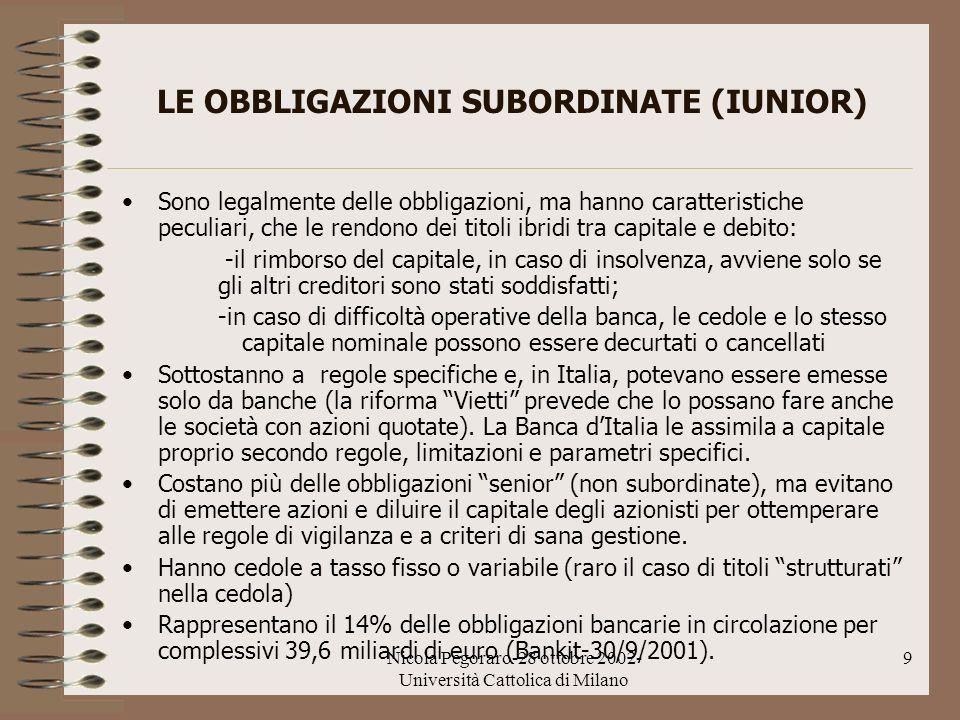 Nicola Pegoraro-28 ottobre 2002- Università Cattolica di Milano 9 LE OBBLIGAZIONI SUBORDINATE (IUNIOR) Sono legalmente delle obbligazioni, ma hanno ca
