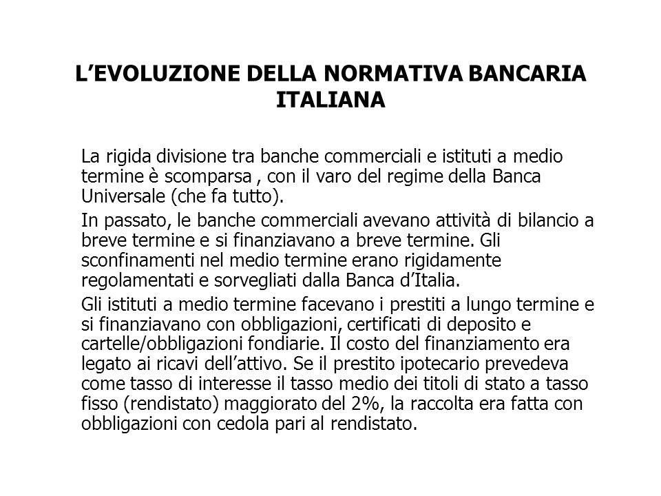 LEVOLUZIONE DELLA NORMATIVA BANCARIA ITALIANA La rigida divisione tra banche commerciali e istituti a medio termine è scomparsa, con il varo del regim