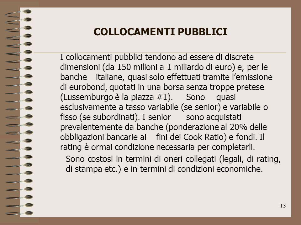 13 COLLOCAMENTI PUBBLICI I collocamenti pubblici tendono ad essere di discrete dimensioni (da 150 milioni a 1 miliardo di euro) e, per le banche italiane, quasi solo effettuati tramite lemissione di eurobond, quotati in una borsa senza troppe pretese (Lussemburgo è la piazza #1).