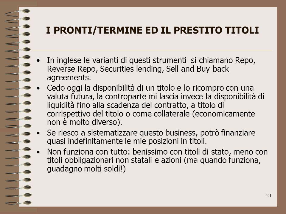21 I PRONTI/TERMINE ED IL PRESTITO TITOLI In inglese le varianti di questi strumenti si chiamano Repo, Reverse Repo, Securities lending, Sell and Buy-back agreements.