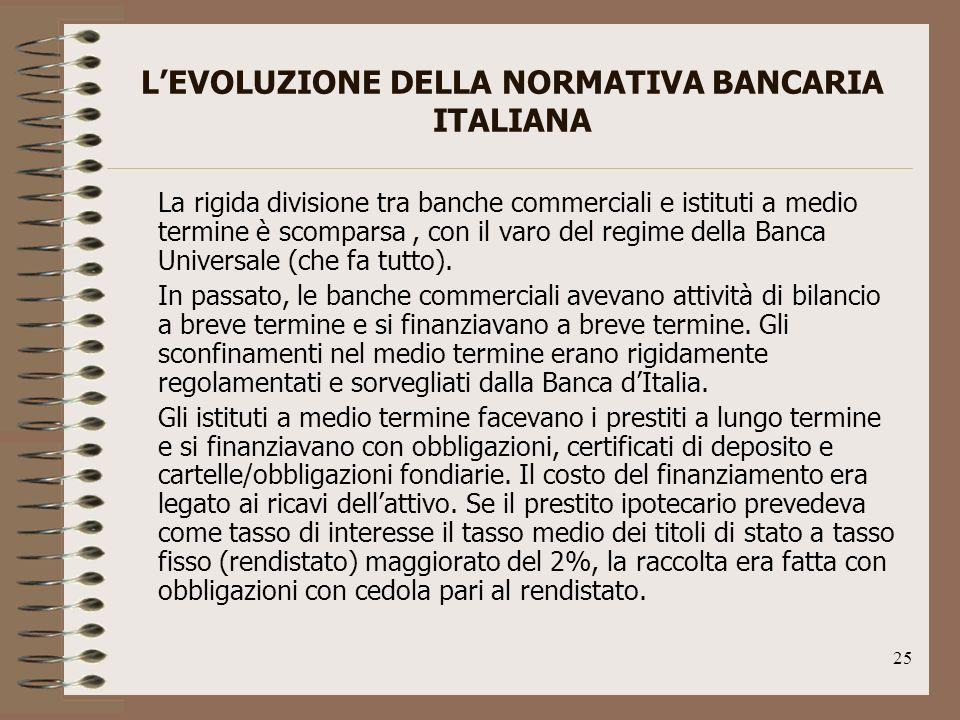 25 LEVOLUZIONE DELLA NORMATIVA BANCARIA ITALIANA La rigida divisione tra banche commerciali e istituti a medio termine è scomparsa, con il varo del regime della Banca Universale (che fa tutto).