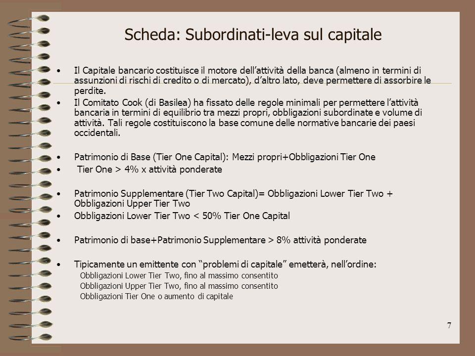 7 Scheda: Subordinati-leva sul capitale Il Capitale bancario costituisce il motore dellattività della banca (almeno in termini di assunzioni di rischi di credito o di mercato), daltro lato, deve permettere di assorbire le perdite.