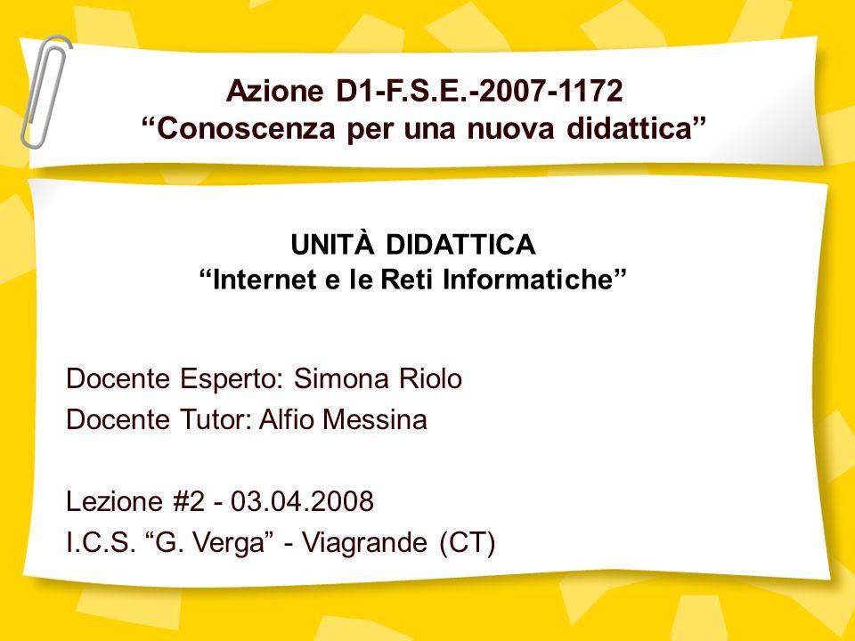Azione D1-F.S.E.-2007-1172 Conoscenza per una nuova didattica Docente Esperto: Simona Riolo Docente Tutor: Alfio Messina Lezione #2 - 03.04.2008 I.C.S.