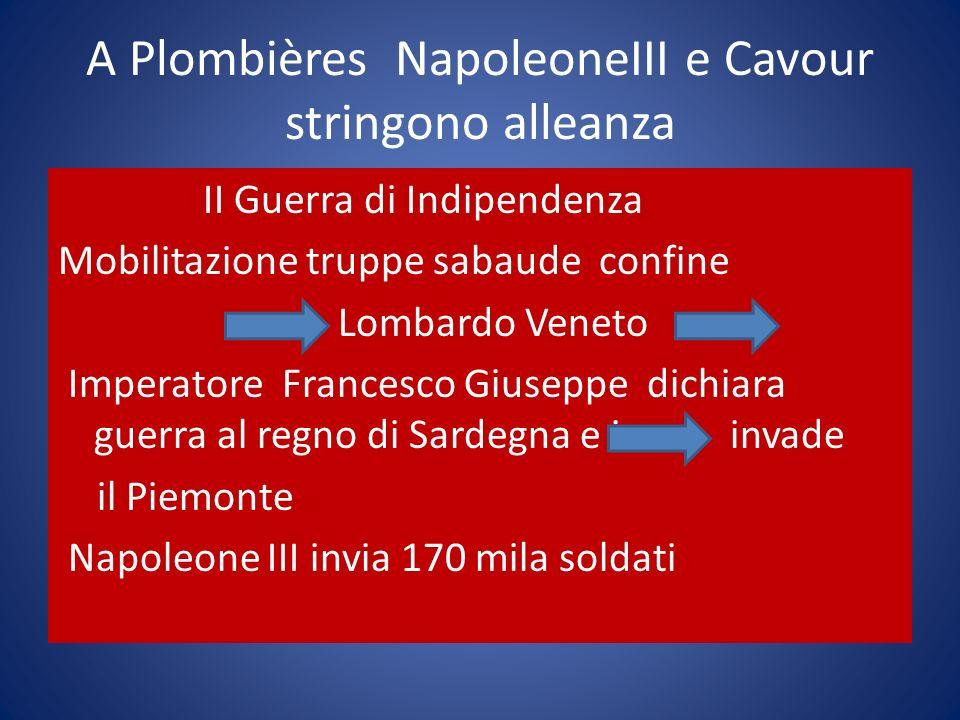 A Plombières NapoleoneIII e Cavour stringono alleanza II Guerra di Indipendenza Mobilitazione truppe sabaude confine Lombardo Veneto Imperatore France