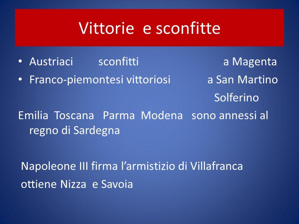 Vittorie e sconfitte Austriaci sconfitti a Magenta Franco-piemontesi vittoriosi a San Martino Solferino Emilia Toscana Parma Modena sono annessi al re