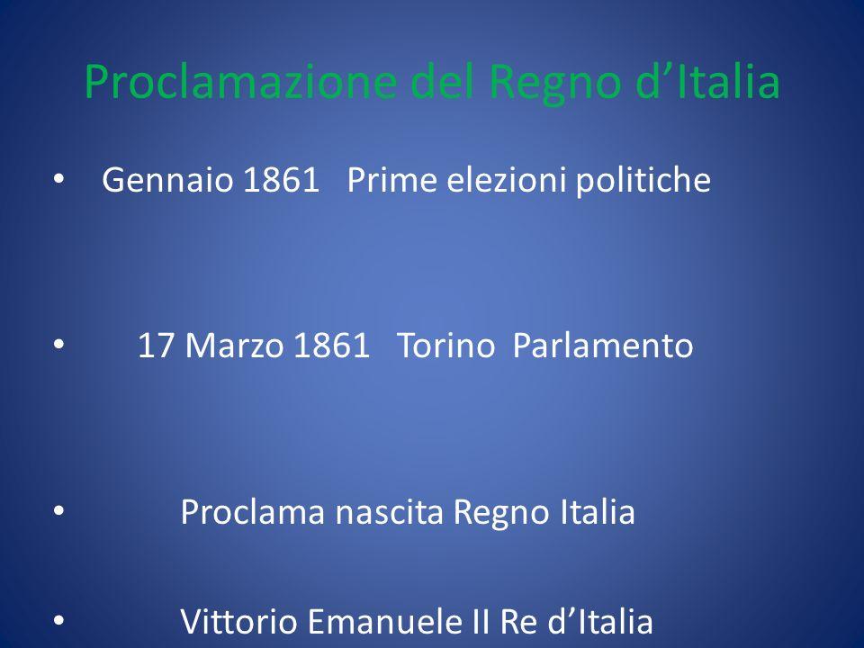 Proclamazione del Regno dItalia Gennaio 1861 Prime elezioni politiche 17 Marzo 1861 Torino Parlamento Proclama nascita Regno Italia Vittorio Emanuele