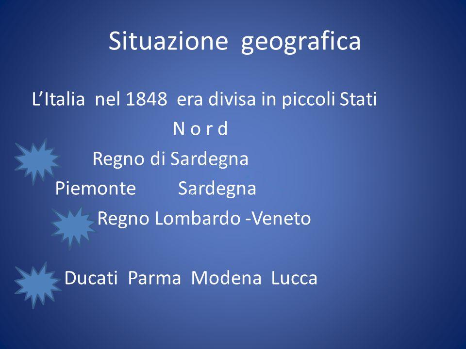 LItalia nel 1848 era divisa in piccoli Stati N o r d Regno di Sardegna Piemonte Sardegna Regno Lombardo -Veneto Ducati Parma Modena Lucca Situazione g