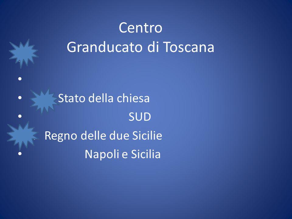 Centro Granducato di Toscana Stato della chiesa SUD R Regno delle due Sicilie Napoli e Sicilia