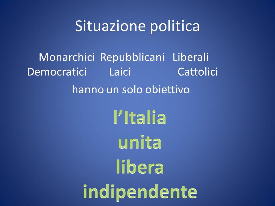 Situazione politica Monarchici Repubblicani Liberali Democratici Laici Cattolici hanno un solo obiettivo
