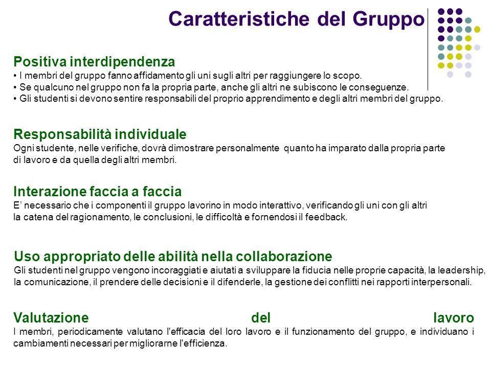 Caratteristiche del Gruppo Valutazione del lavoro I membri, periodicamente valutano l'efficacia del loro lavoro e il funzionamento del gruppo, e indiv