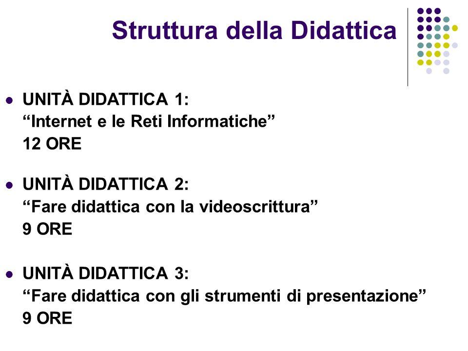 Struttura della Didattica UNITÀ DIDATTICA 1: Internet e le Reti Informatiche 12 ORE UNITÀ DIDATTICA 2: Fare didattica con la videoscrittura 9 ORE UNIT