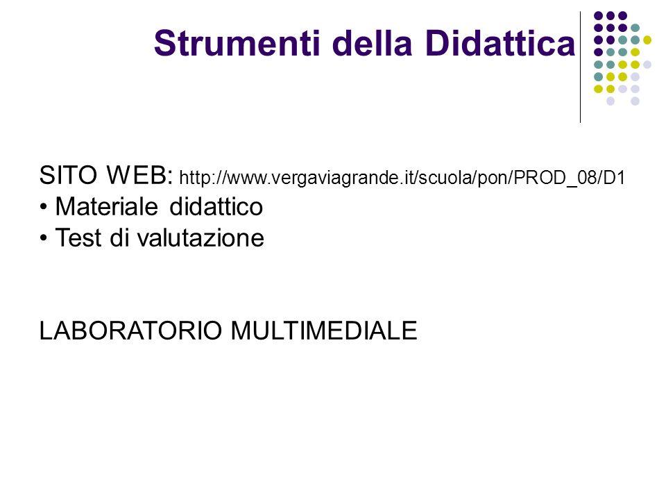 Strumenti della Didattica SITO WEB: http://www.vergaviagrande.it/scuola/pon/PROD_08/D1 Materiale didattico Test di valutazione LABORATORIO MULTIMEDIAL