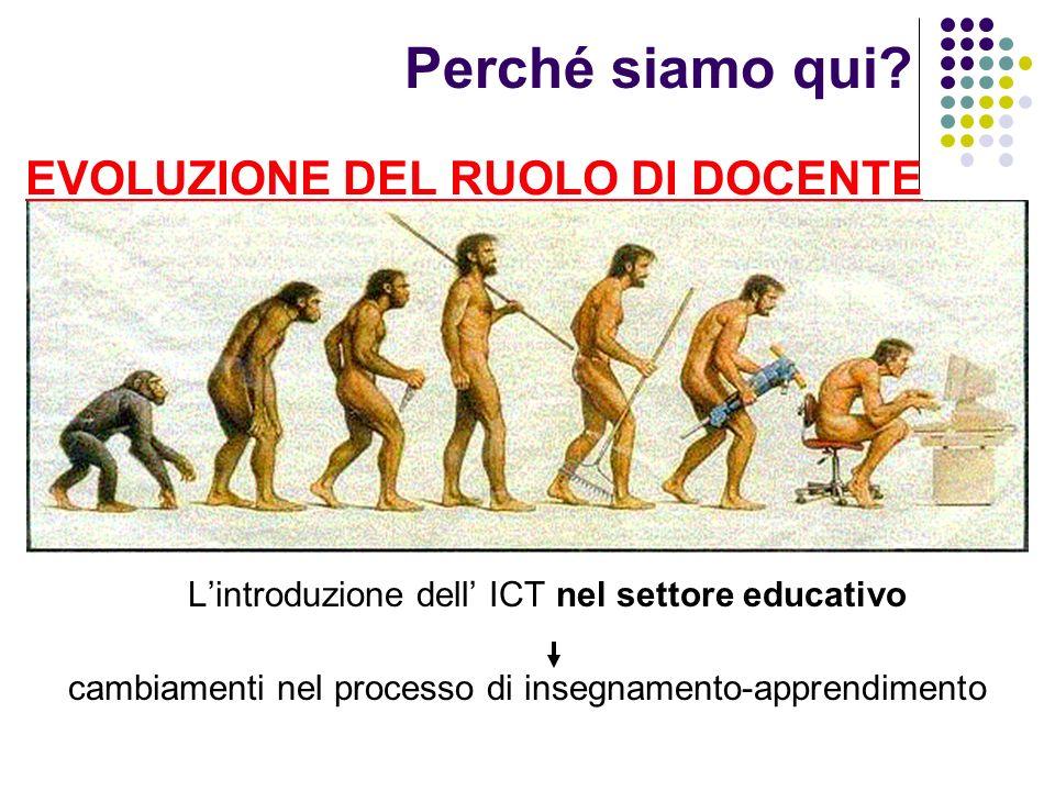 Perché siamo qui? Lintroduzione dell ICT nel settore educativo cambiamenti nel processo di insegnamento-apprendimento EVOLUZIONE DEL RUOLO DI DOCENTE