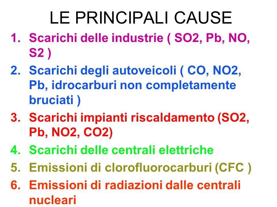 LE PRINCIPALI CAUSE 1.Scarichi delle industrie ( SO2, Pb, NO, S2 ) 2.Scarichi degli autoveicoli ( CO, NO2, Pb, idrocarburi non completamente bruciati