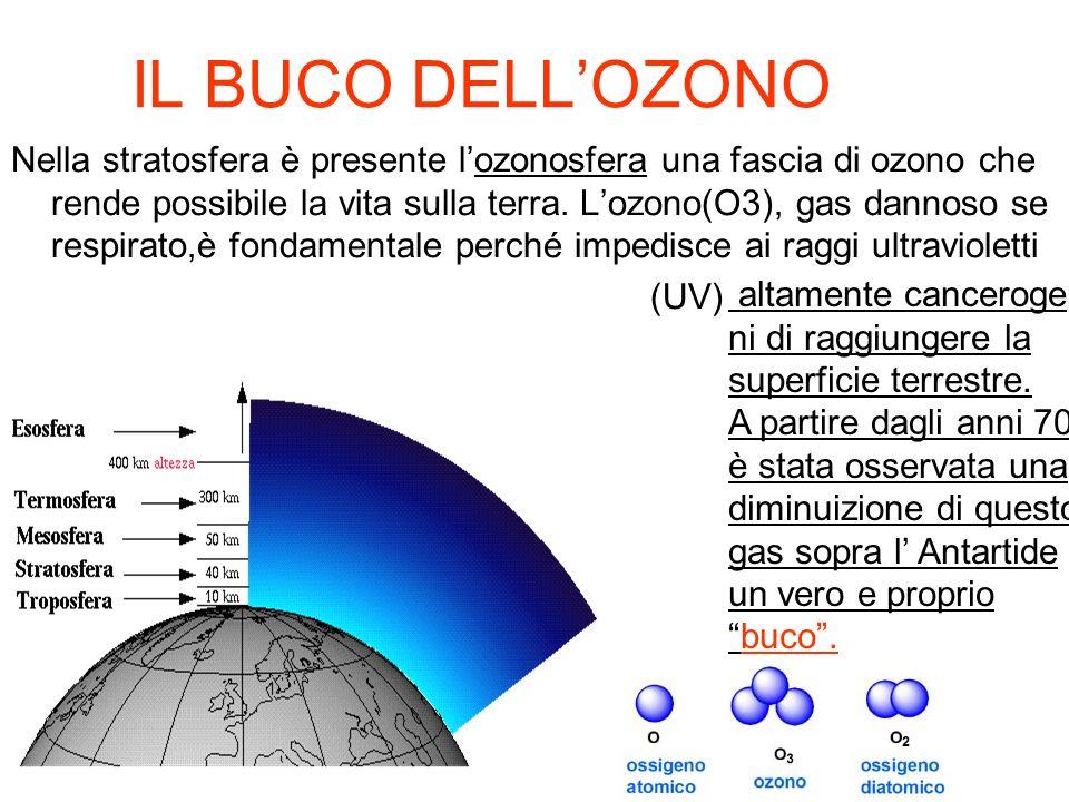IL BUCO DELLOZONO Nella stratosfera è presente lozonosfera una fascia di ozono che rende possibile la vita sulla terra. Lozono(O3), gas dannoso se res