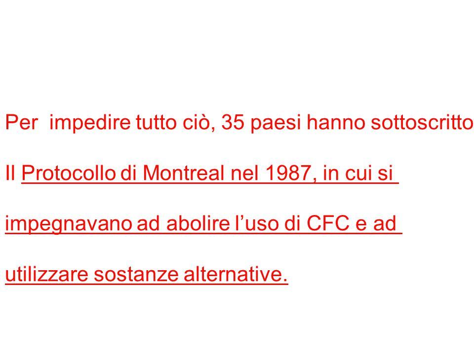 Per impedire tutto ciò, 35 paesi hanno sottoscritto Il Protocollo di Montreal nel 1987, in cui si impegnavano ad abolire luso di CFC e ad utilizzare s