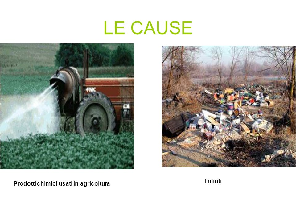 LE CAUSE Prodotti chimici usati in agricoltura I rifiuti