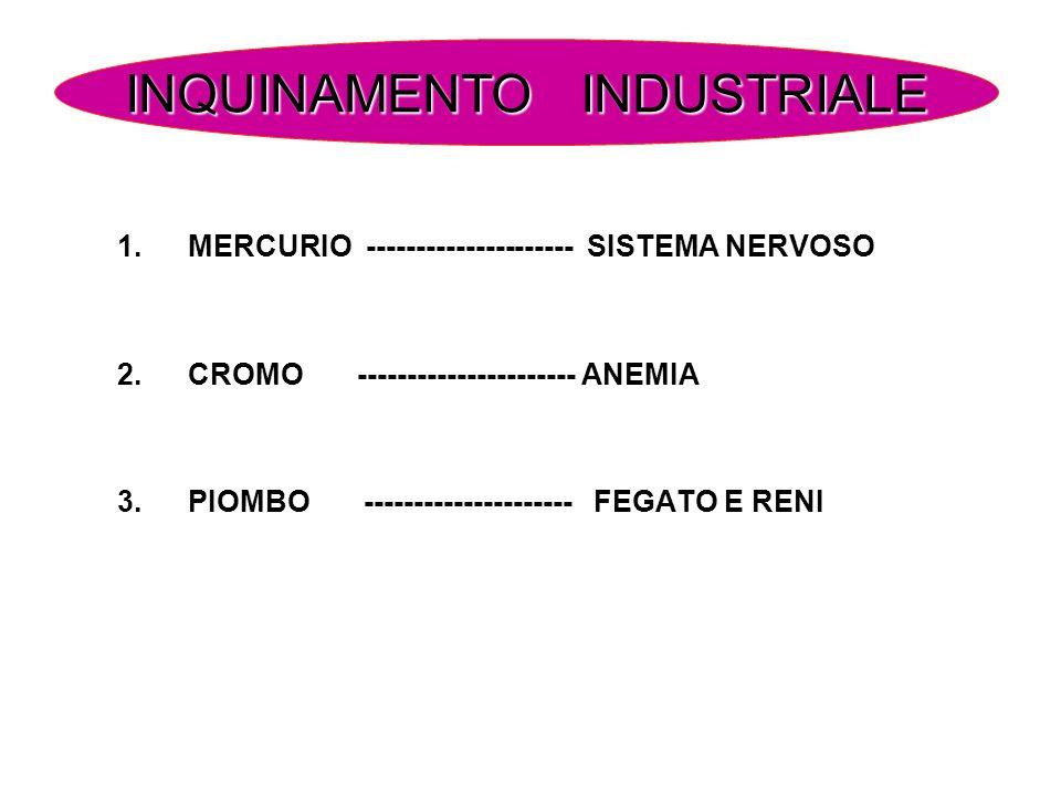 1.MERCURIO --------------------- SISTEMA NERVOSO 2.CROMO ---------------------- ANEMIA 3.PIOMBO --------------------- FEGATO E RENI INQUINAMENTO INDUS