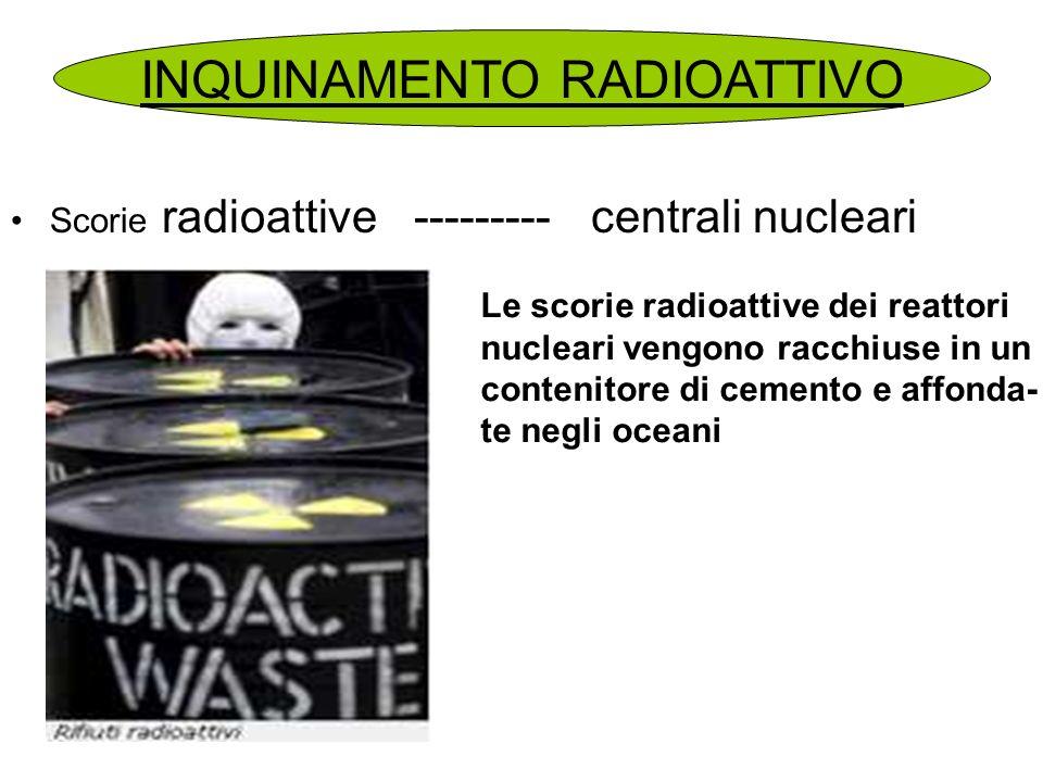 Scorie radioattive --------- centrali nucleari INQUINAMENTO RADIOATTIVO Le scorie radioattive dei reattori nucleari vengono racchiuse in un contenitor