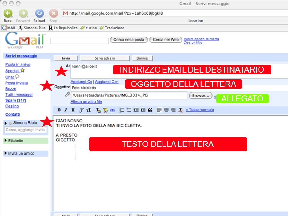 INVIA UNA E-MAIL INDIRIZZO EMAIL DEL DESTINATARIO OGGETTO DELLA LETTERA TESTO DELLA LETTERA Indirizzi e-mail a cui deve essere inviata COPIA DEL MESSA