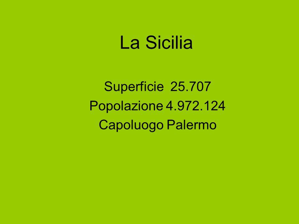 La Sicilia Superficie 25.707 Popolazione 4.972.124 Capoluogo Palermo