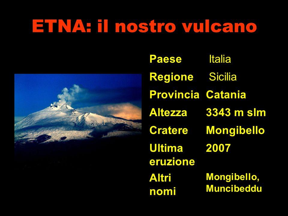 ETNA: il nostro vulcano Paese Italia Regione Sicilia ProvinciaCatania Altezza3343 m slm CratereMongibello Ultima eruzione 2007 Altri nomi Mongibello, Muncibeddu