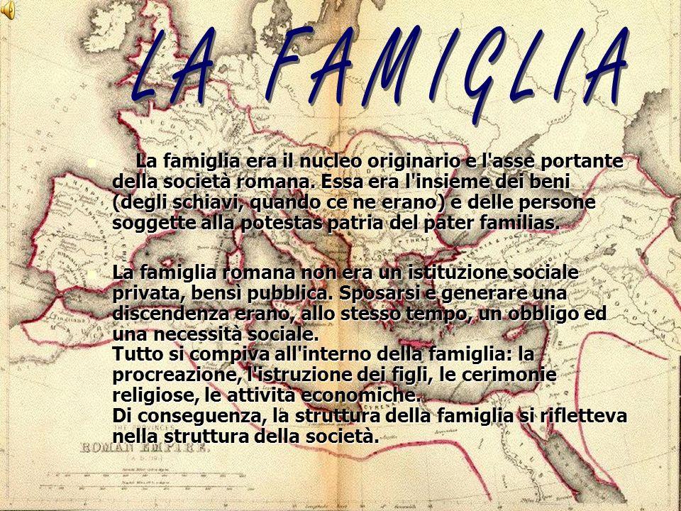 La famiglia era il nucleo originario e l'asse portante della società romana. Essa era l'insieme dei beni (degli schiavi, quando ce ne erano) e delle p