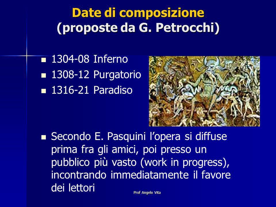 Prof Angelo Vita Date di composizione (proposte da G. Petrocchi) 1304-08 Inferno 1308-12 Purgatorio 1316-21 Paradiso Secondo E. Pasquini lopera si dif