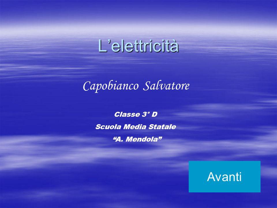 Lelettricità Avanti Capobianco Salvatore Classe 3° D Scuola Media Statale A. Mendola