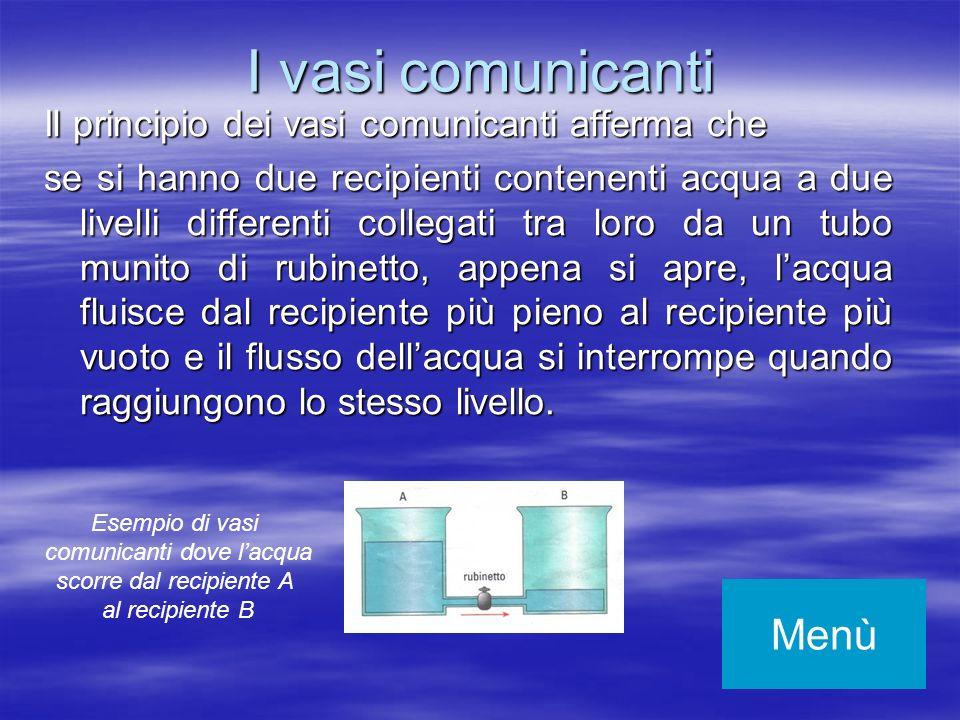 I vasi comunicanti Il principio dei vasi comunicanti afferma che se si hanno due recipienti contenenti acqua a due livelli differenti collegati tra lo