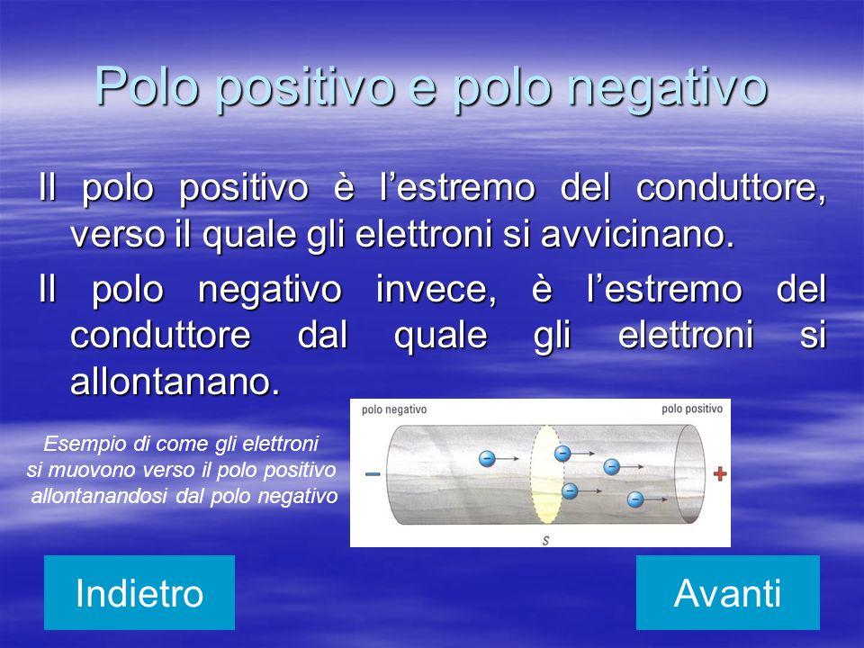 Polo positivo e polo negativo Il polo positivo è lestremo del conduttore, verso il quale gli elettroni si avvicinano. Il polo negativo invece, è lestr