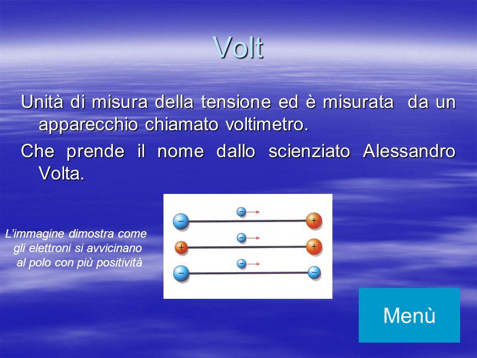 Volt Unità di misura della tensione ed è misurata da un apparecchio chiamato voltimetro. Che prende il nome dallo scienziato Alessandro Volta. Menù Li