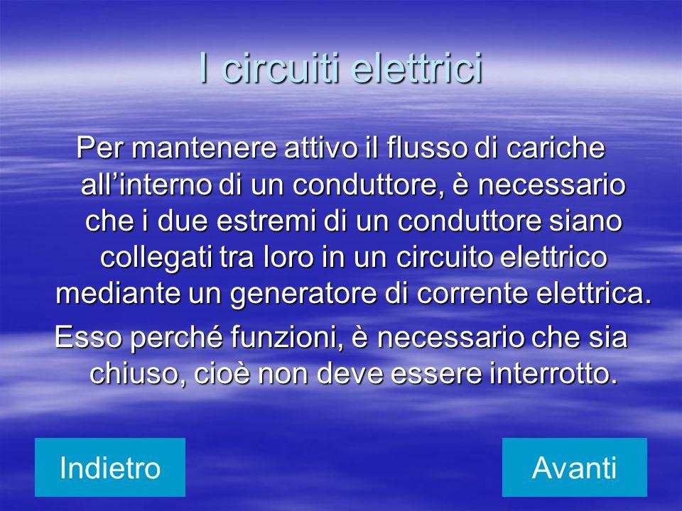 I circuiti elettrici Per mantenere attivo il flusso di cariche allinterno di un conduttore, è necessario che i due estremi di un conduttore siano coll