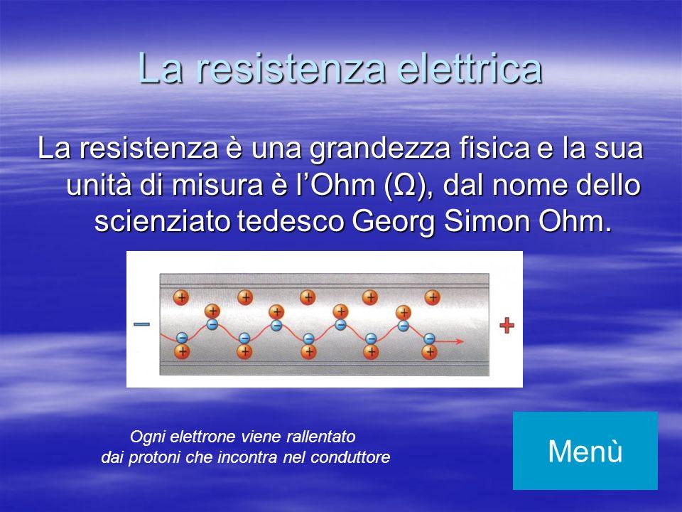 La resistenza elettrica La resistenza è una grandezza fisica e la sua unità di misura è lOhm (Ω), dal nome dello scienziato tedesco Georg Simon Ohm. M