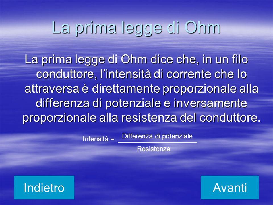 La prima legge di Ohm La prima legge di Ohm dice che, in un filo conduttore, lintensità di corrente che lo attraversa è direttamente proporzionale all
