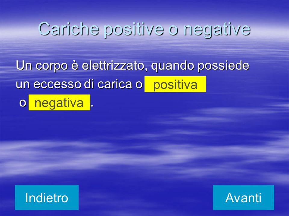 Un corpo è elettrizzato, quando possiede un eccesso di carica o o. o. positiva negativa IndietroAvanti Cariche positive o negative