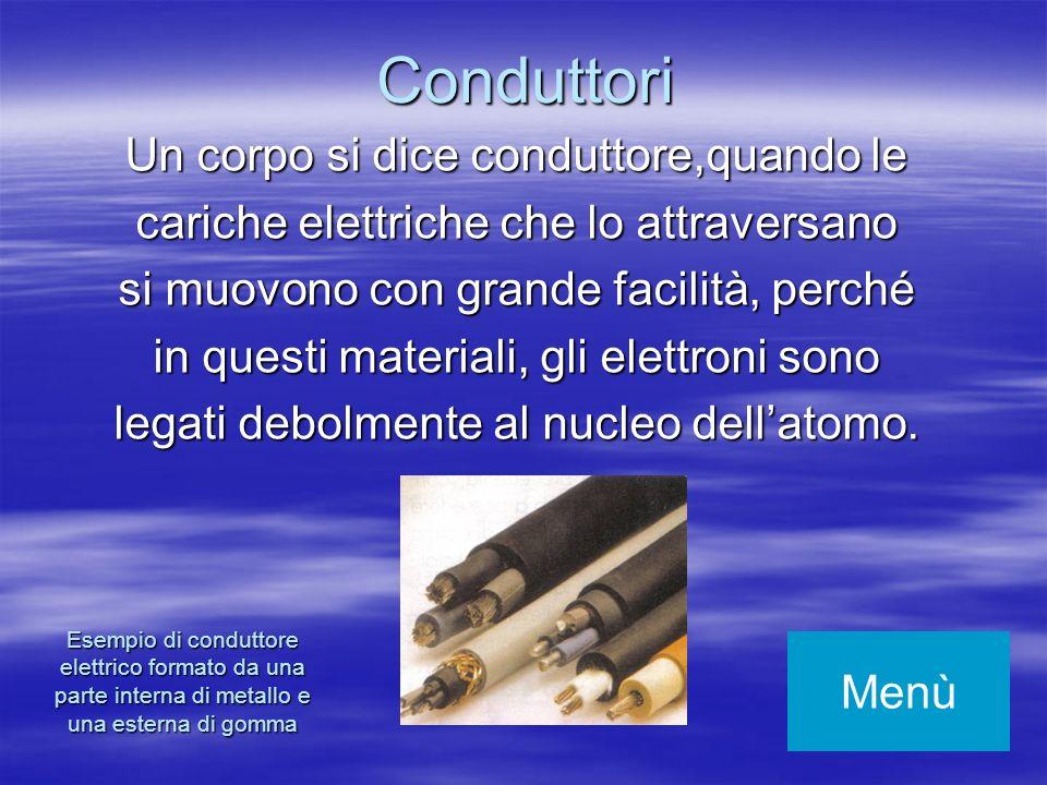 Un corpo si dice conduttore,quando le cariche elettriche che lo attraversano si muovono con grande facilità, perché in questi materiali, gli elettroni