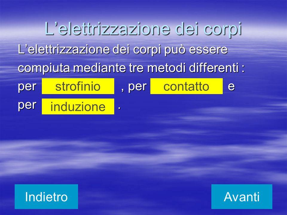 Lelettrizzazione dei corpi Lelettrizzazione dei corpi può essere compiuta mediante tre metodi differenti : per, per e per. strofiniocontatto induzione